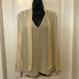 🆕 NWT Top Shop Ivory Long Sleeve Spring Blouse